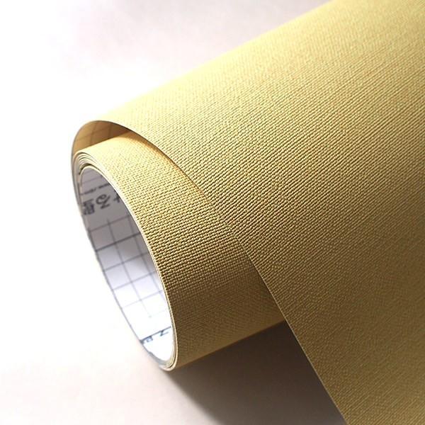 壁紙 シール壁紙 貼ってはがせる はがせる壁紙RILM 93cm幅オーダーカット 101 布地調の無地イエロー 返品・交換不可 reform-myhome 04