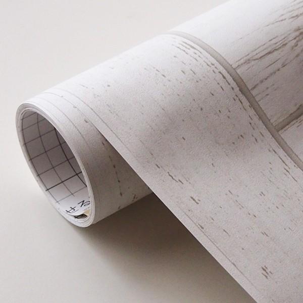 壁紙 シール壁紙 貼ってはがせる はがせる壁紙RILM 93cm幅オーダーカット 390 腰壁 木目柄ホワイトウッド 返品・交換不可 reform-myhome 04