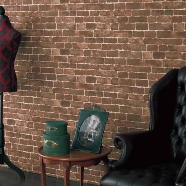 壁紙 シール壁紙 貼ってはがせる はがせる壁紙RILM 93cm幅オーダーカット 508 レンガ柄ブラウン リメイクシート 返品・交換不可|reform-myhome|02