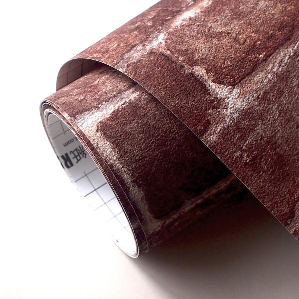 壁紙 シール壁紙 貼ってはがせる はがせる壁紙RILM 93cm幅オーダーカット 508 レンガ柄ブラウン リメイクシート 返品・交換不可|reform-myhome|04
