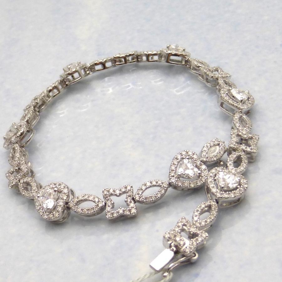 格安新品  ダイヤモンド合計2.85ct×Pt ハートダイヤモンドプラチナブレスレット, 家電のすまいる:75c6d28e --- sonpurmela.online