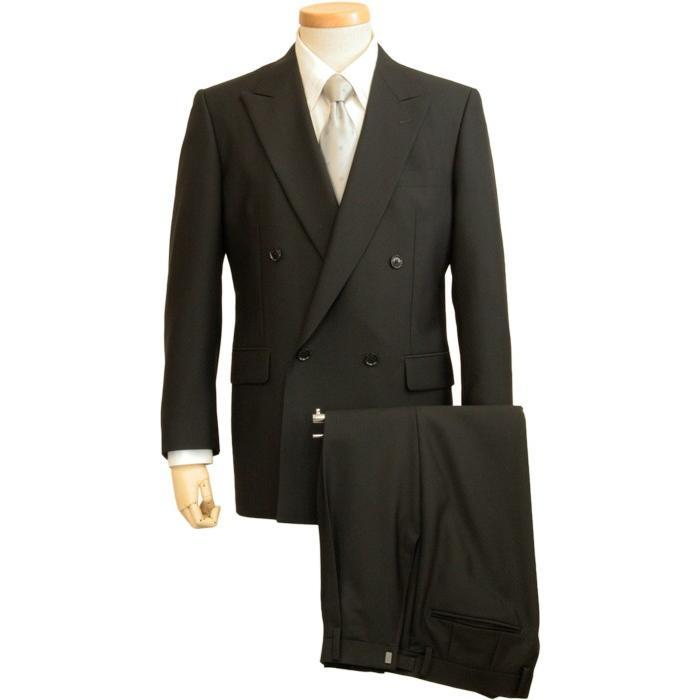 フォーマルスーツ メンズ ダブル 4ボタン 紳士 礼服 アジャスター付 濃染ブラック R3368|reisouclub