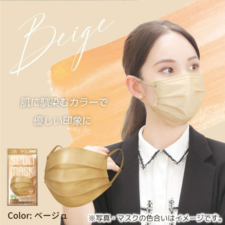 ISDG 医食同源ドットコム スパンレース不織布カラーマスク 個包装 7枚入り ベージュ 4袋セット|reiwa-mall|03