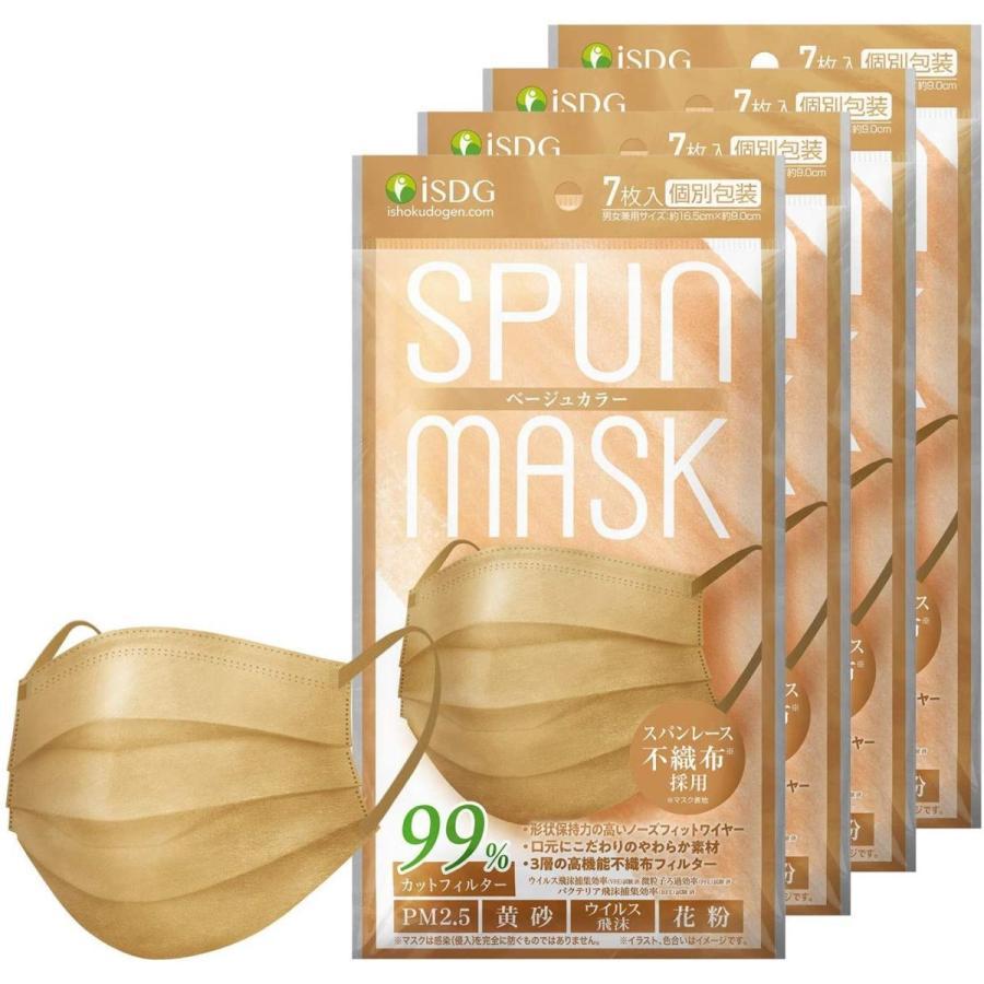 ISDG 医食同源ドットコム スパンレース不織布カラーマスク 個包装 7枚入り ベージュ 4袋セット|reiwa-mall|05