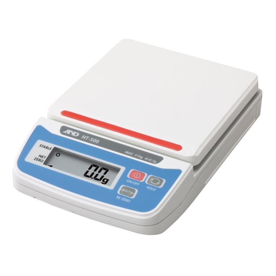 A&D デジタルはかり HT-500 ≪ひょう量:510g 最小表示:0.1g 皿寸法:132(W)*130(D)mm 検定無≫
