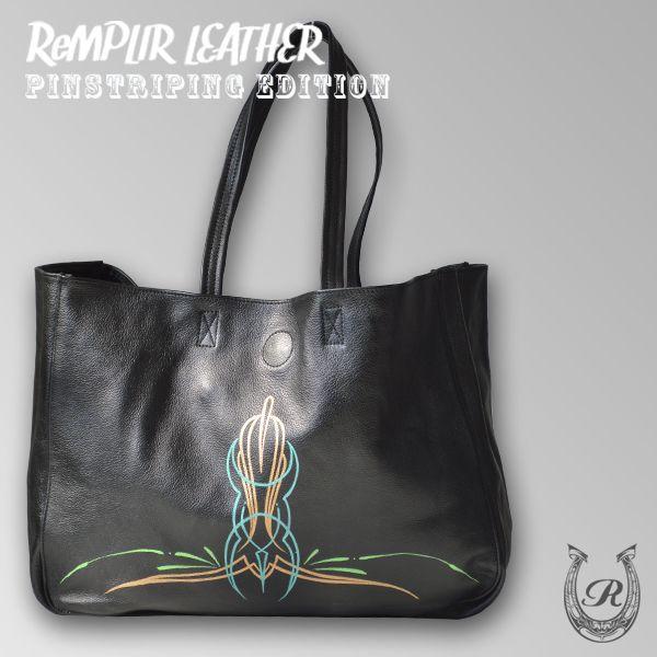 [世界に1点のみの限定商品]ピンストライプアート・トート バッグ MER-320004   ランプリール・レザー remplirleather 02