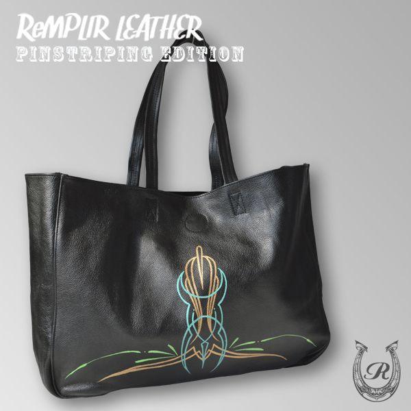[世界に1点のみの限定商品]ピンストライプアート・トート バッグ MER-320004   ランプリール・レザー remplirleather 03