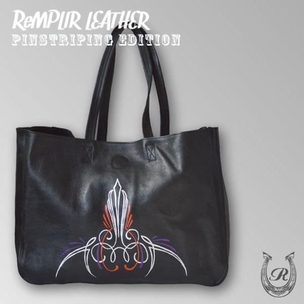 [世界に1点のみの限定商品]ピンストライプアート・トート バッグ MER-320006 | ランプリール・レザー|remplirleather|02