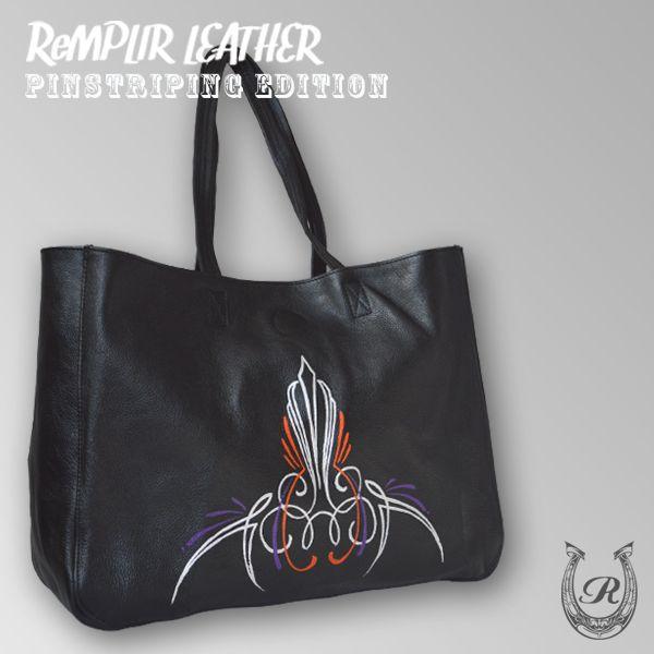 [世界に1点のみの限定商品]ピンストライプアート・トート バッグ MER-320006 | ランプリール・レザー|remplirleather|03