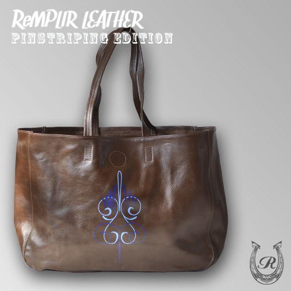 [世界に1点のみの限定商品]ピンストライプアート・トート バッグ MER-320007 | ランプリール・レザー|remplirleather|02