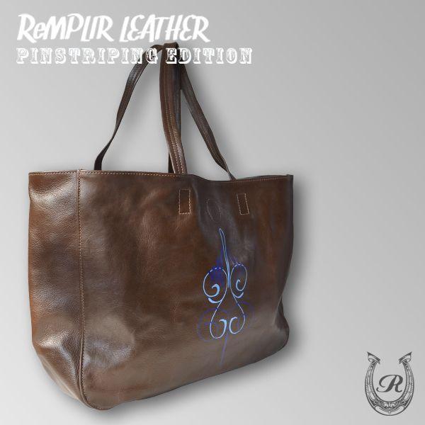 [世界に1点のみの限定商品]ピンストライプアート・トート バッグ MER-320007 | ランプリール・レザー|remplirleather|03