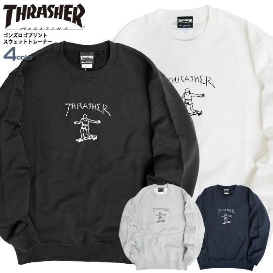 THRASHER スウェット スラッシャー ゴンズ ロゴ プリント トレーナー クルーネック GONZ CREW SWEAT THRASHER-154 renovatio