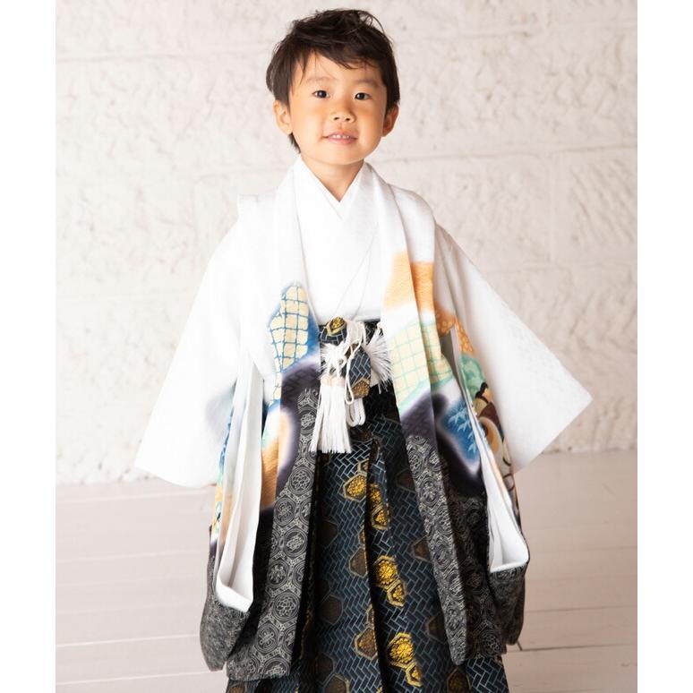 七五三(5歳男の子袴)0006白/鷹に鼓    5歳男の子袴らくらく14点セット|rentaldress-kids|04