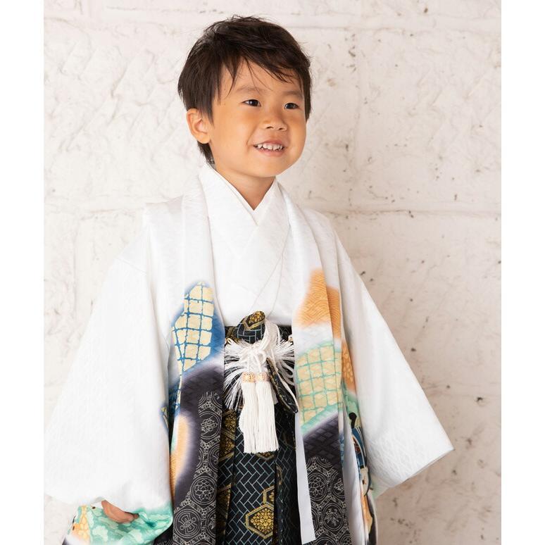 七五三(5歳男の子袴)0006白/鷹に鼓    5歳男の子袴らくらく14点セット|rentaldress-kids|05