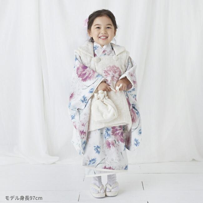 七五三(3歳女の子被布)0047JILLSTUARTアイボリー白×ピンク  ペールグリーン  3歳女の子被布らくらく9点セット|rentaldress-kids|04