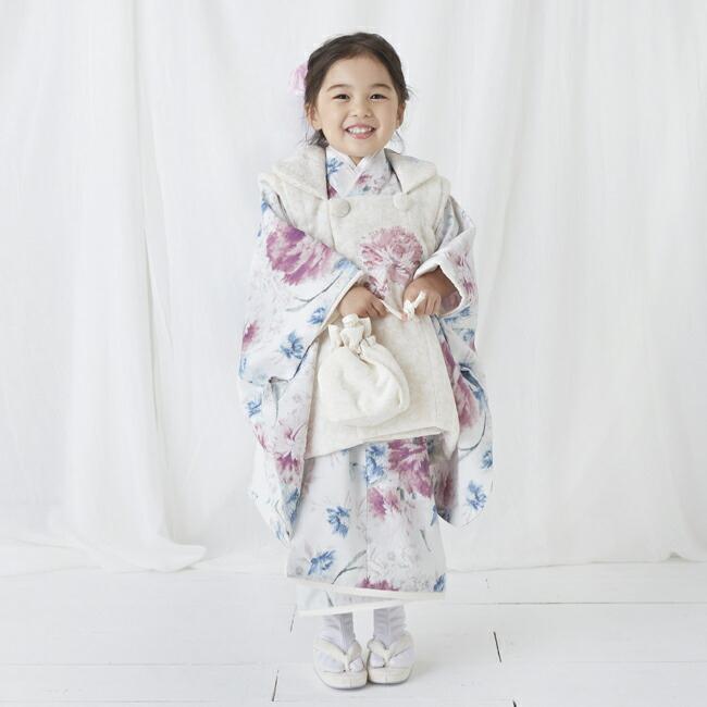 七五三(3歳女の子被布)0047JILLSTUARTアイボリー白×ピンク  ペールグリーン  3歳女の子被布らくらく9点セット|rentaldress-kids|05