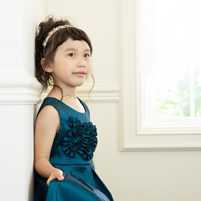 子供ドレスレンタル 靴セット 女の子用フォーマルドレス ccgl009 ダークティール 100 110 120 130 140 150 rentaldress-kids 04