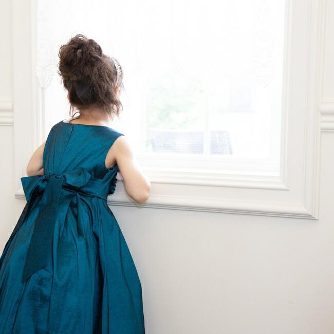 子供ドレスレンタル 靴セット 女の子用フォーマルドレス ccgl009 ダークティール 100 110 120 130 140 150 rentaldress-kids 06