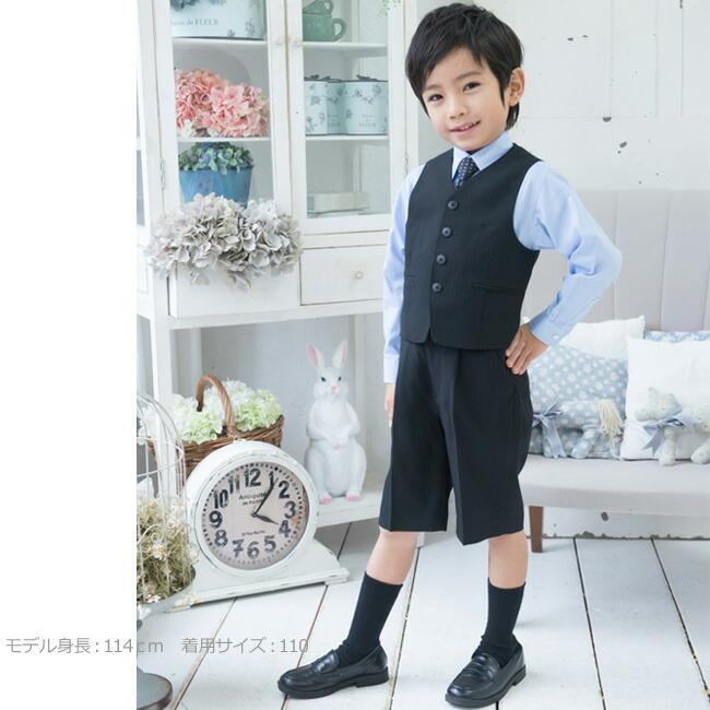 選べる半袖長袖シャツ  フォーマル子供服  子供スーツ  靴セット 男児ベストスーツセット BOY-C51 半ズボン フォーマル 男の子 シャツ 100 110 120 130 rentaldress-kids 05