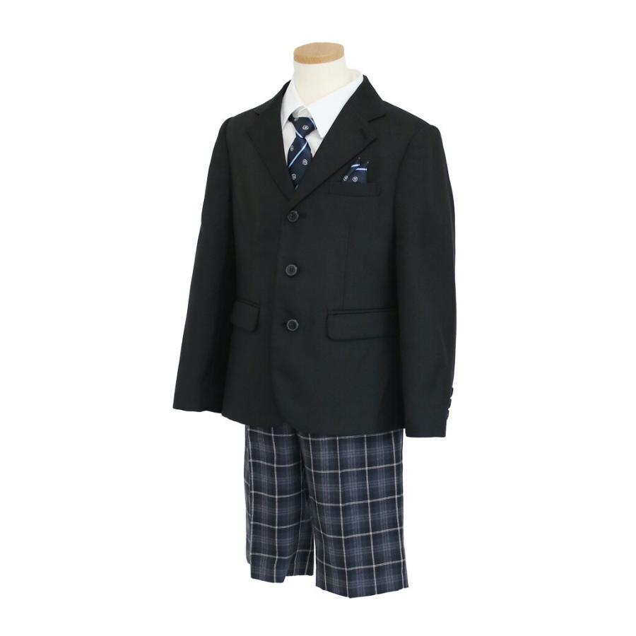 フォーマル子供服 子供スーツ 靴セット 格子パンツスーツ ブラック aby019 半ズボン フォーマル 男の子 110 120 130サイズ rentaldress-kids 03