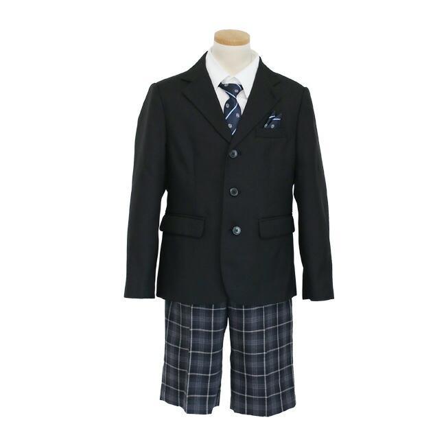 フォーマル子供服 子供スーツ 靴セット 格子パンツスーツ ブラック aby019 半ズボン フォーマル 男の子 110 120 130サイズ rentaldress-kids 09