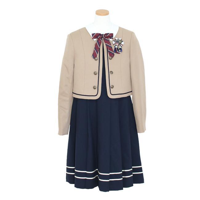 フォーマル子供服  靴セット ELLEキャメルJK ネイビーワンピースアンサンブルセット agl047  女の子 卒業式 入学式 結婚式 お受験 150 160|rentaldress-kids|11