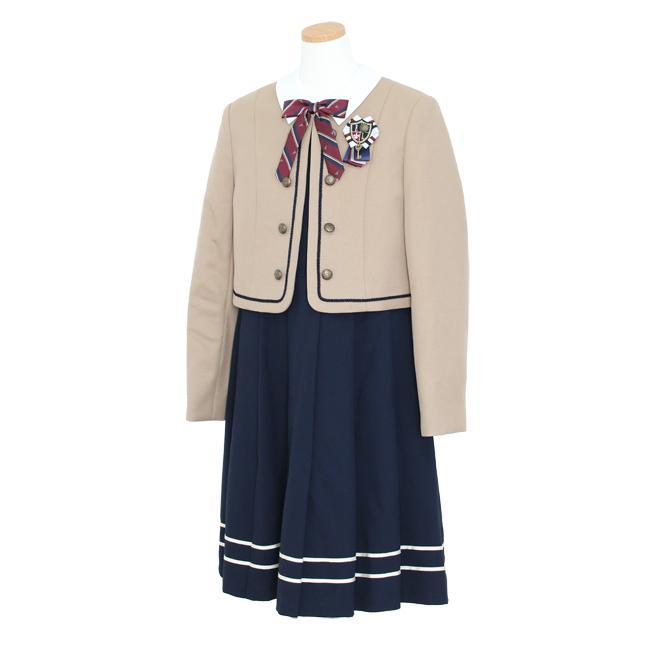 フォーマル子供服  靴セット ELLEキャメルJK ネイビーワンピースアンサンブルセット agl047  女の子 卒業式 入学式 結婚式 お受験 150 160|rentaldress-kids|04