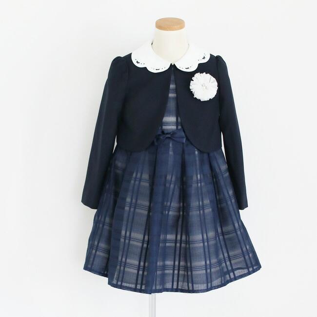 入学式 スーツ 女の子 3泊4日 靴なし 子供服 ELLEチュールアンサンブルセット 紺ワンピース agl029 女児 120 キッズ|rentaldress-kids|12