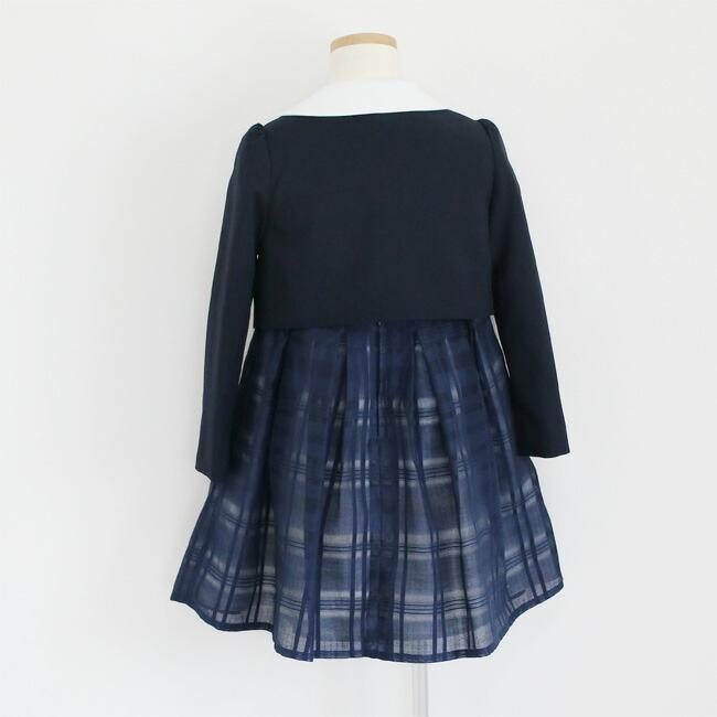 入学式 スーツ 女の子 3泊4日 靴なし 子供服 ELLEチュールアンサンブルセット 紺ワンピース agl029 女児 120 キッズ|rentaldress-kids|13