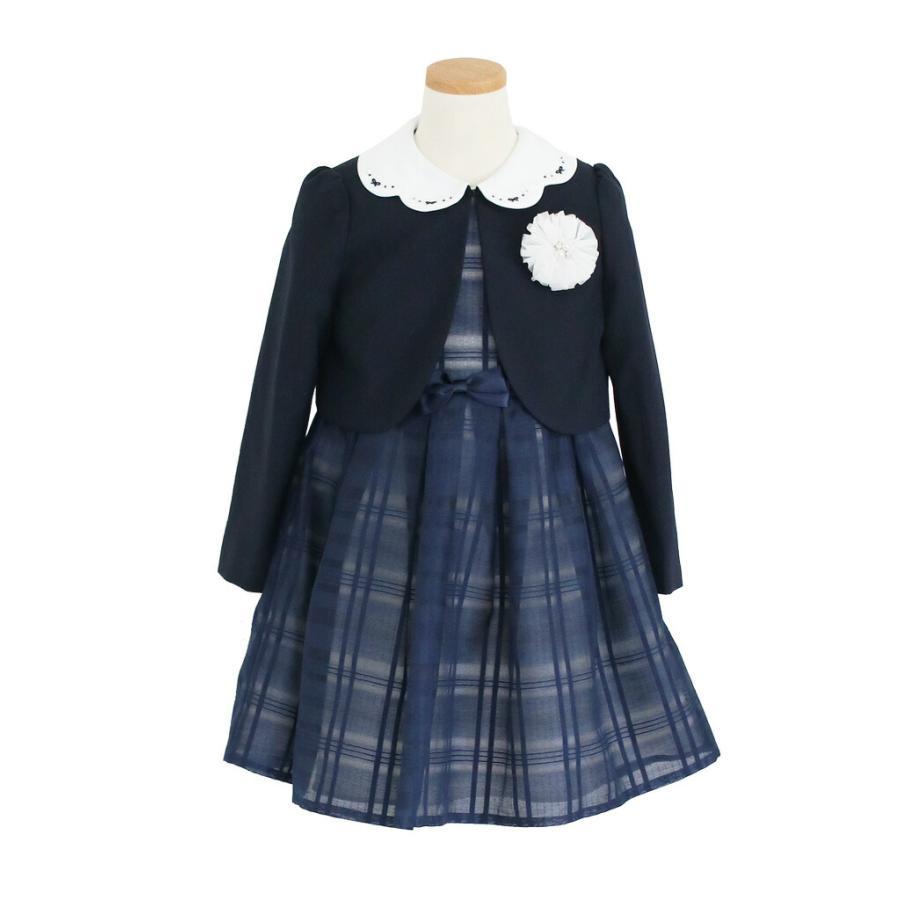 入学式 スーツ 女の子 3泊4日 靴なし 子供服 ELLEチュールアンサンブルセット 紺ワンピース agl029 女児 120 キッズ|rentaldress-kids|03