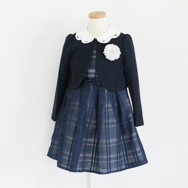 入学式 スーツ 女の子 3泊4日 靴なし 子供服 ELLEチュールアンサンブルセット 紺ワンピース agl029 女児 120 キッズ|rentaldress-kids|04
