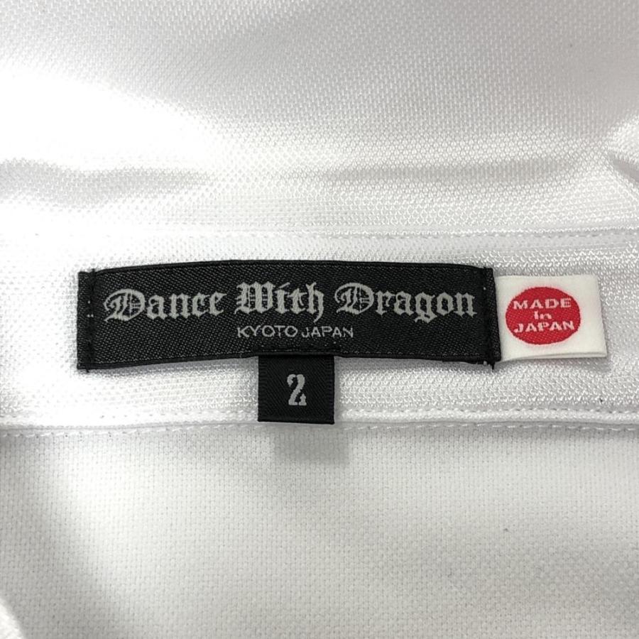 ★20%OFF価格★Dance With Dragon ダンスウィズドラゴン 半袖ポロシャツ 白×黒 ニコちゃん×ボーダー 前総柄  メンズ 2[M] ゴルフウェア|reonard|05