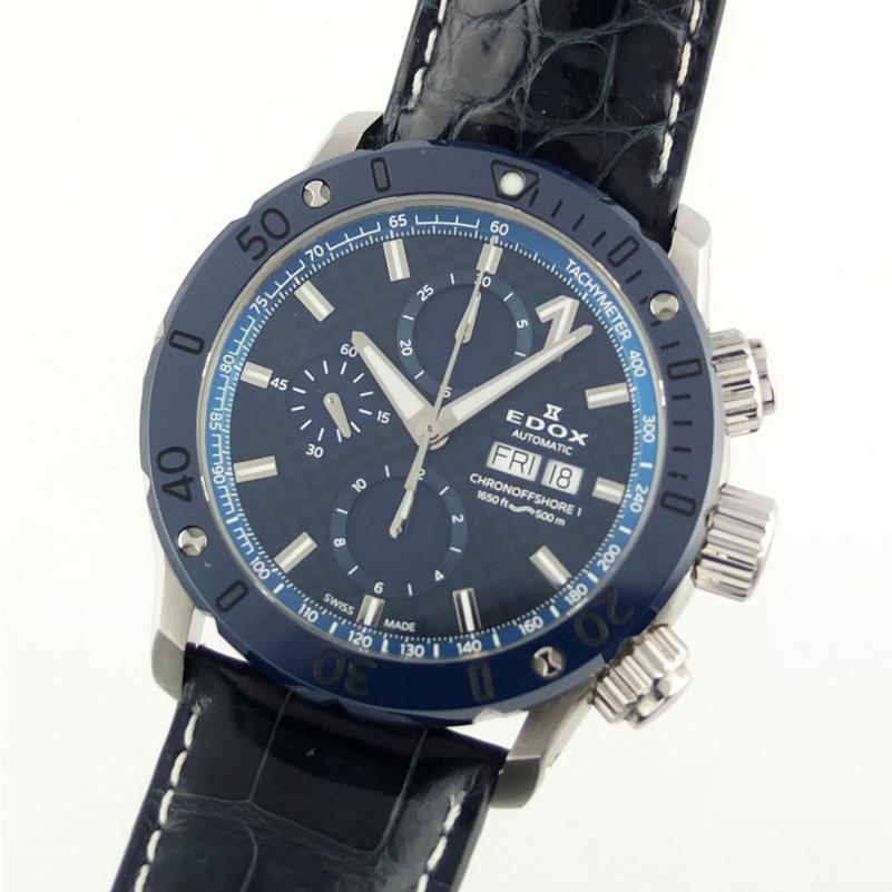 エドックス EDOX クロノオフショア1 01122-3BU3-BUIN3-L クロノグラフ 自動巻 メンズ腕時計 SS セラミック レザー 【中古】 repawn