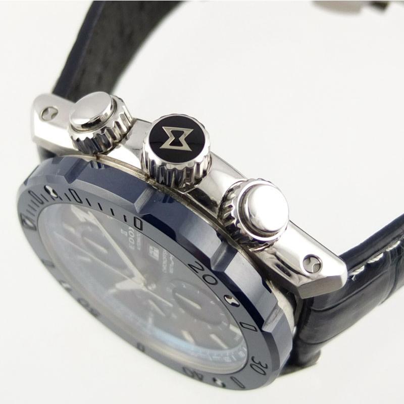 エドックス EDOX クロノオフショア1 01122-3BU3-BUIN3-L クロノグラフ 自動巻 メンズ腕時計 SS セラミック レザー 【中古】 repawn 03