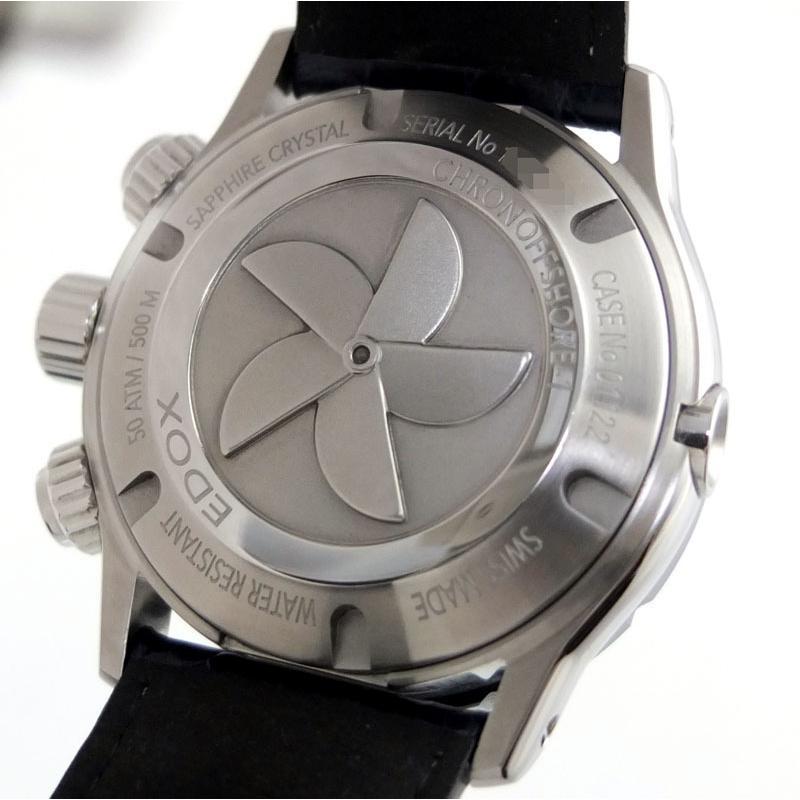 エドックス EDOX クロノオフショア1 01122-3BU3-BUIN3-L クロノグラフ 自動巻 メンズ腕時計 SS セラミック レザー 【中古】 repawn 07
