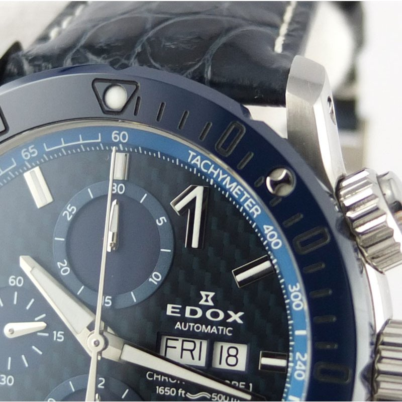 エドックス EDOX クロノオフショア1 01122-3BU3-BUIN3-L クロノグラフ 自動巻 メンズ腕時計 SS セラミック レザー 【中古】 repawn 09
