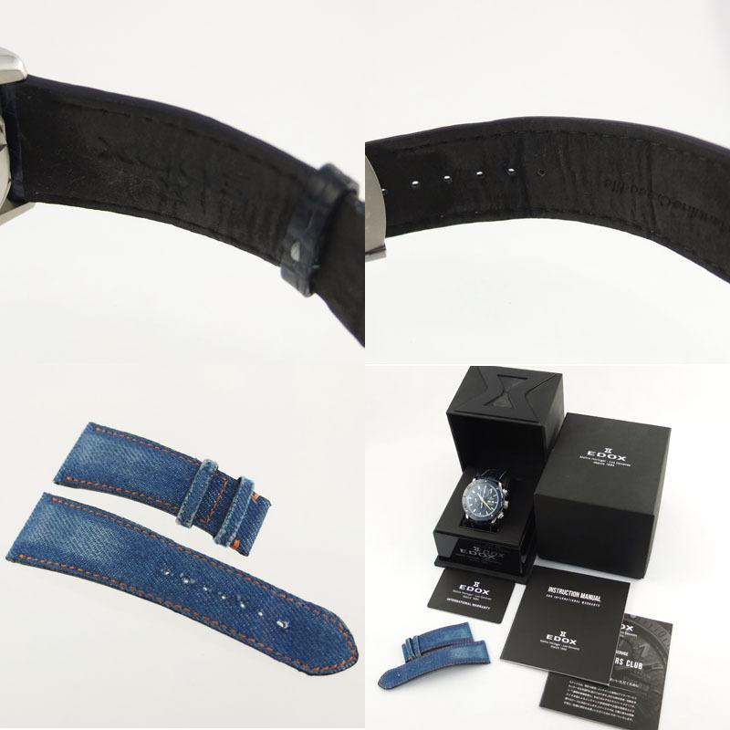 エドックス EDOX クロノオフショア1 01122-3BU3-BUIN3-L クロノグラフ 自動巻 メンズ腕時計 SS セラミック レザー 【中古】 repawn 10
