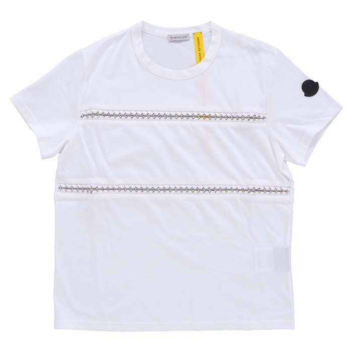 人気提案 MONCLER モンクレール T-Shirt Girocollo 80526 00 829EE 001 GENIUS ジーニアス NOIR KEI NINOMIYA コラボ レディース Tシャツ 半袖 クルーネック ホワイト 白, デニムスタイルshop-Mix.- 6adf14bc