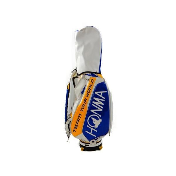 【中古】 中古 本間ゴルフ TEAM TOUR WORLD CB-1601 9型 ブルー イエロー キャディバッグ HO ヘッドカバー付 ゴルフ S3773910