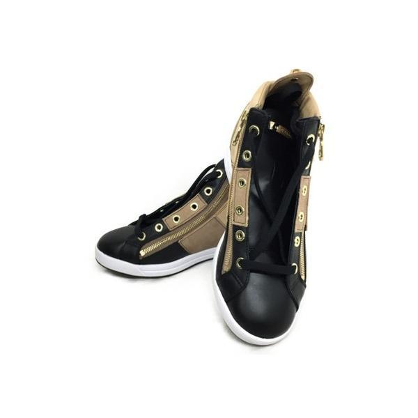 未使用 【中古】 Mark & LONA マークアンドロナ Encore Zip High-cut Sneaker ML-ZK36 黒/BEIGE 23cm スニーカー T3824755