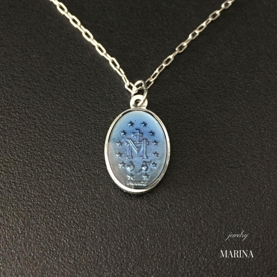 フランス奇跡のメダイのネックレス - blue silver|resortiara|02