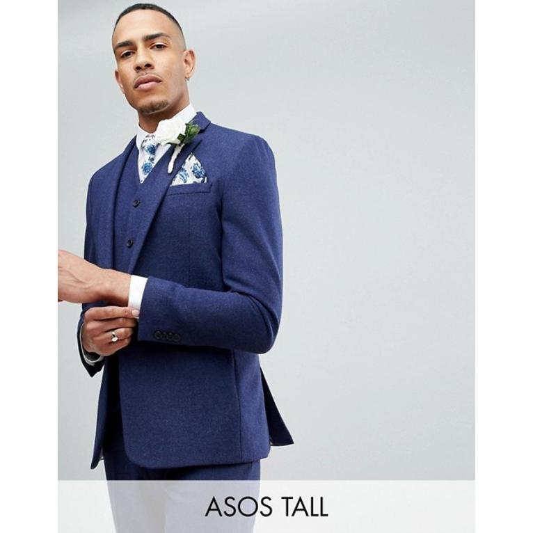 エイソス メンズ ジャケット・ブルゾン アウター ASOS TALL Wedding Skinny Suit Jacket in Navy Wool Mix
