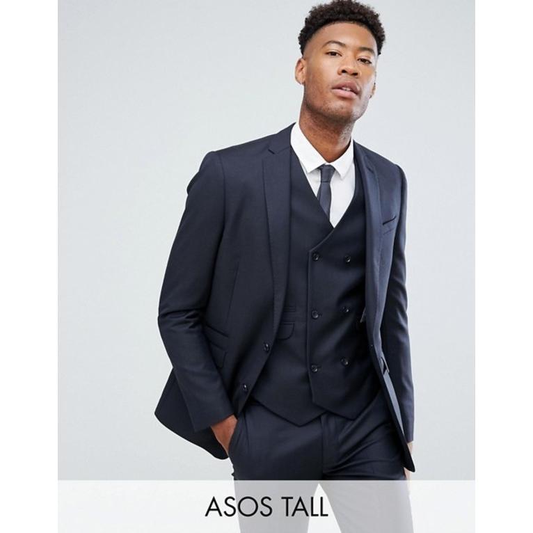 エイソス メンズ ジャケット・ブルゾン アウター ASOS TALL Slim Suit Jacket In Navy 100% Wool
