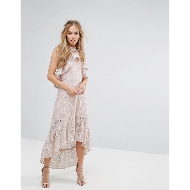 フォキシィドックス レディース ワンピース トップス Foxiedox Halter Neck Lace Hi-Low Dress