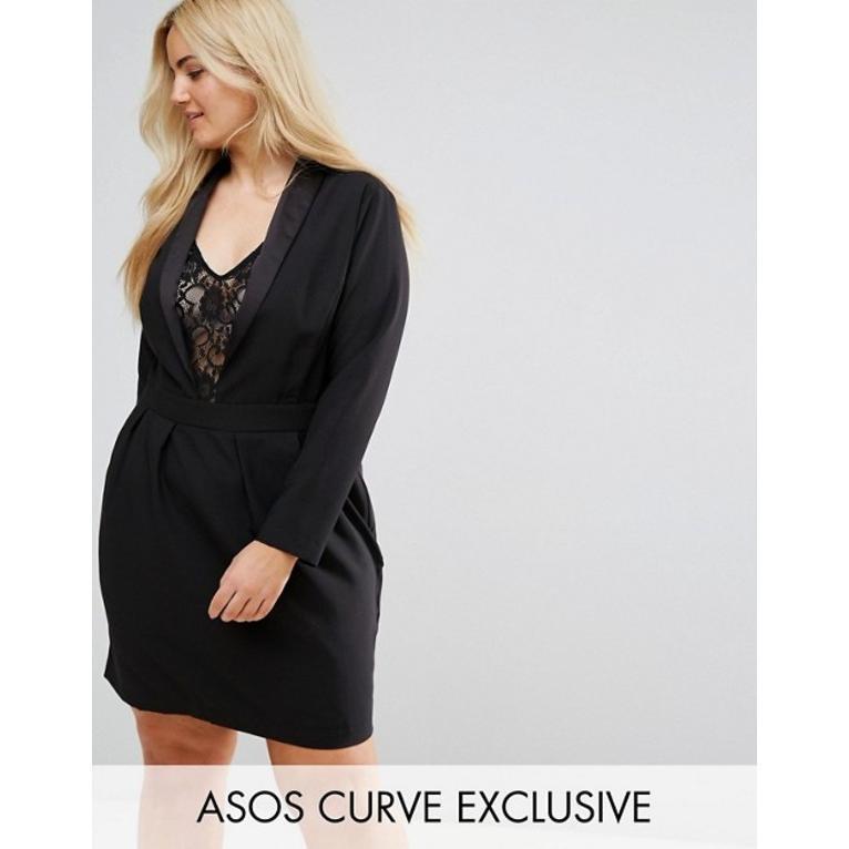 エイソス レディース ワンピース トップス ASOS CURVE Tux Dress with Lace Insert