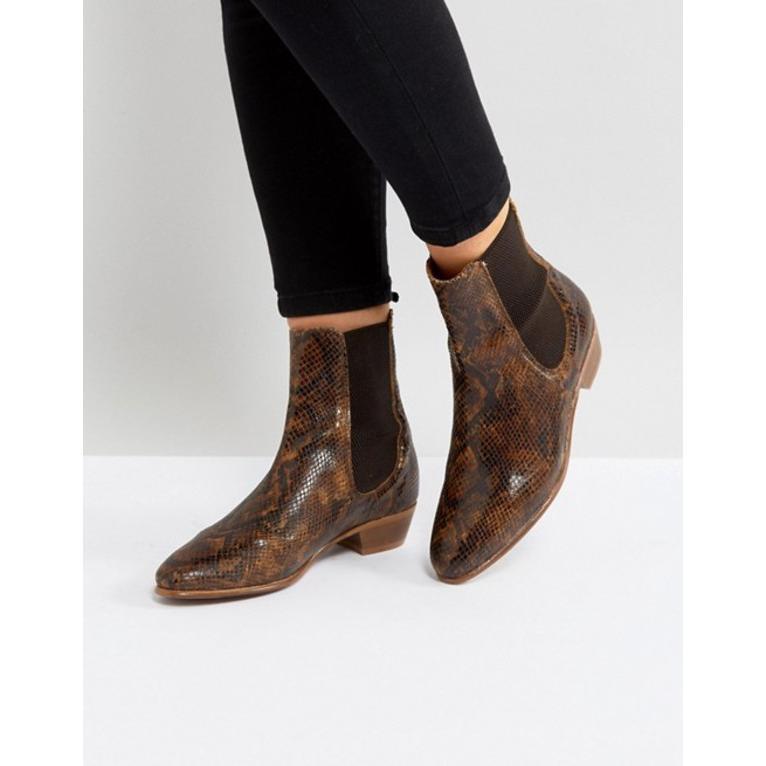エイチ バイ ハドソン レディース ブーツ・レインブーツ シューズ Hudson London Kenny Tan Snake Ankle Boots