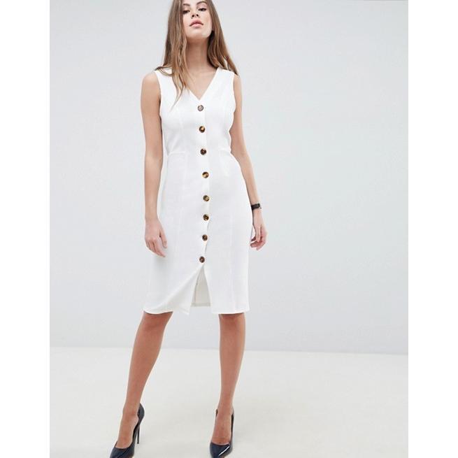 エイソス レディース ワンピース トップス ASOS DESIGN v neck dress with tortoiseshell buttons
