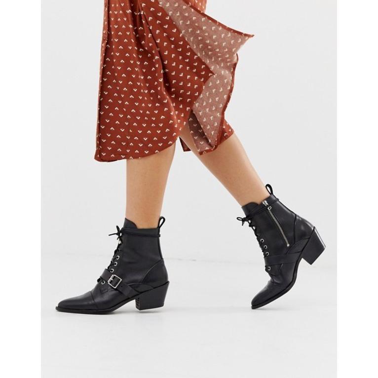 最適な価格 オールセインツ レディース ブーツ buckle・レインブーツ boots シューズ AllSaints Katy lace up オールセインツ heeled leather boots with buckle, インテリアショップ ファイン:c8d078f1 --- chizeng.com