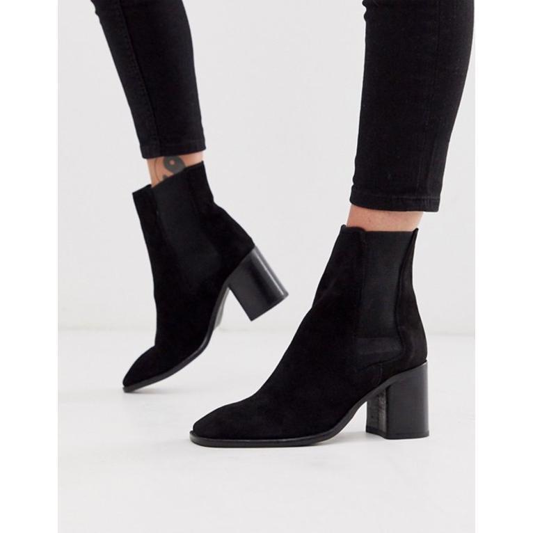エイソス レディース ブーツ・レインブーツ シューズ ASOS DESIGN Reverse suede square toe chelsea boots in 黒