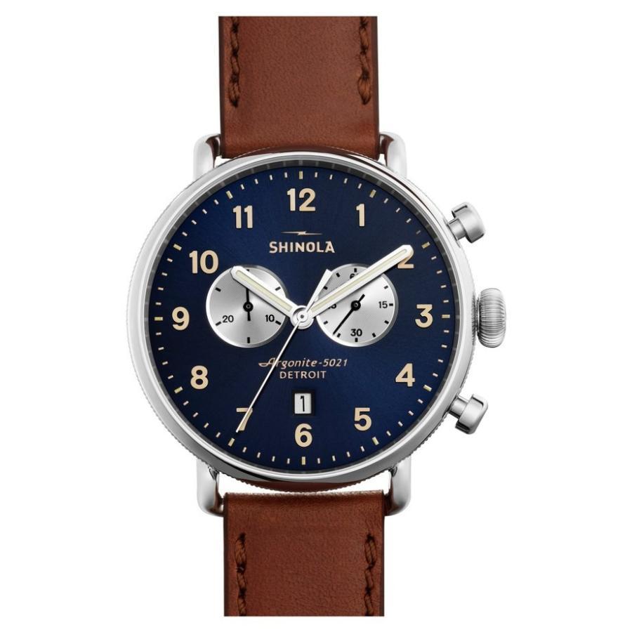 【オープニングセール】 シャイノーラ レディース 腕時計 アクセサリー Shinola The Canfield Chrono Leather Strap Watch, 43mm, deco&styleらくだ館 01d333ea